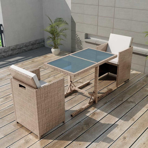 OUTDOOR DINING SET POLY RATTAN GREY/BEIGE SEVEN PIECES