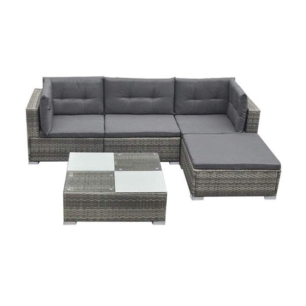 Garden Lounge Set Poly Rattan Grey 14 Pieces