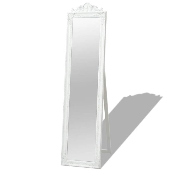 Free-Standing Mirror Baroque Style 160 x 40 Cm White