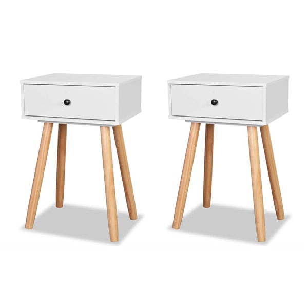 Bedside Tables 2 Pcs Solid Pinewood 40 x 30 x 61 Cm White