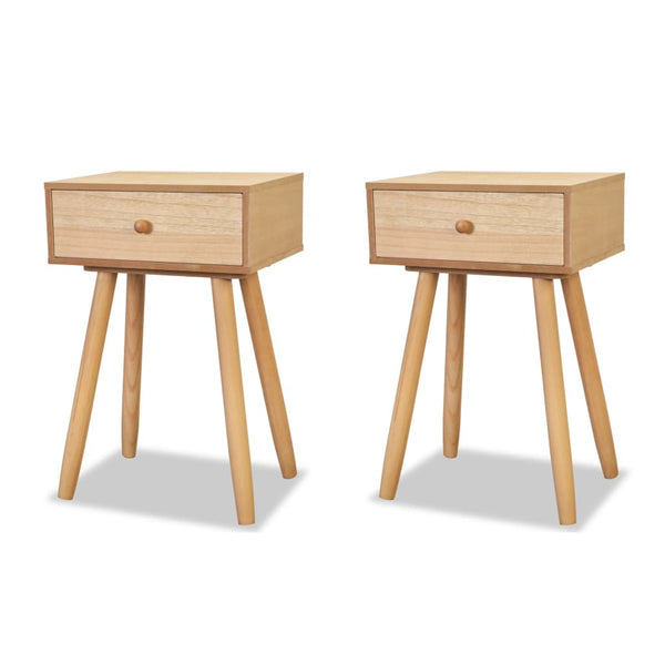 Bedside Tables 2 Pcs Solid Pinewood 40 x 30 x 61 Cm Brown