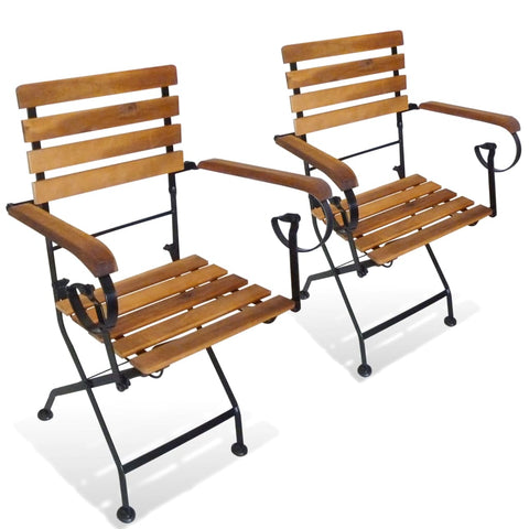 Folding Garden Chairs With Armrests Acacia Wood 2 Pcs