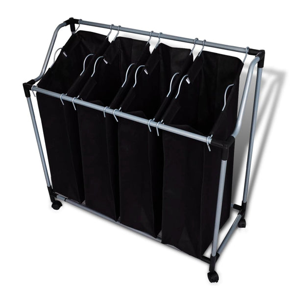 Laundry Sorter With 4 Bags Black/Grey