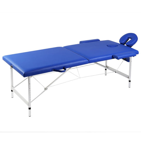 Blue Foldable Massage Table 2 Zones With Aluminum Frame