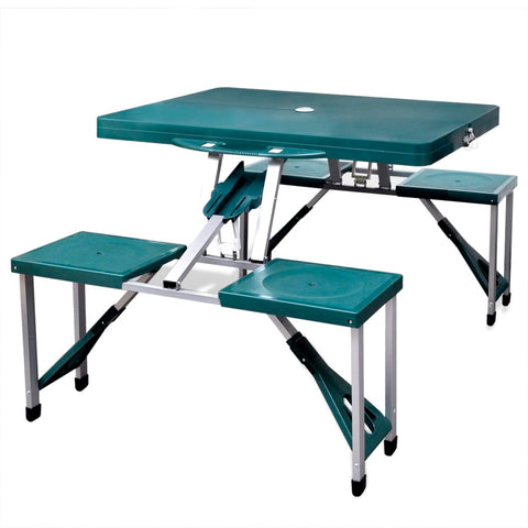 Foldable Camping Table Set with 4 Stools Extra Light Green