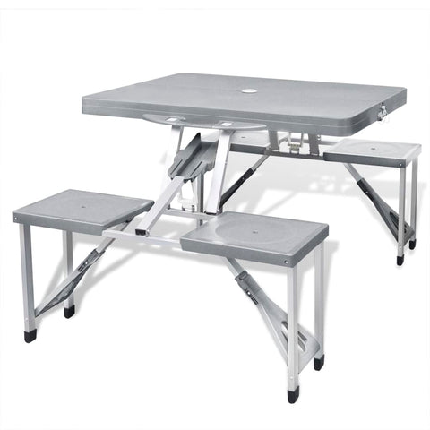 Foldable Camping Table Set With 4 Stools Aluminum Light Grey