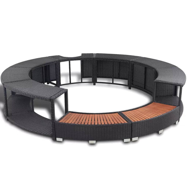 Spa Surround Black Poly Rattan