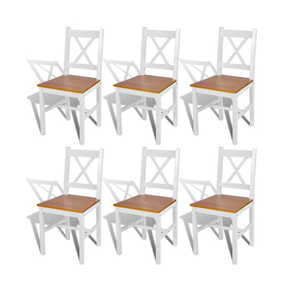 Dining Chairs Wood White And Natural Colour 6 Pcs