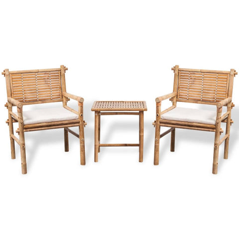 Bistro Set With Side Table And Cushion Bamboo