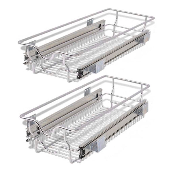 Pull-Out Wire Baskets Silver 300 Mm 2 Pcs