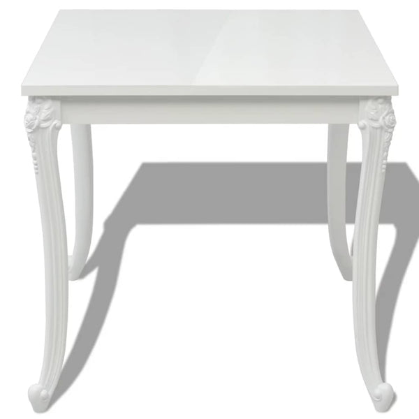 Dining Table 80 x 80 x 76 Cm High Gloss White