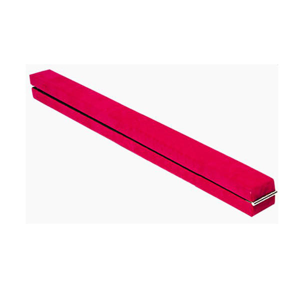 8Ft Gymnastics Folding Balance Beam Pink Synthetic Suede