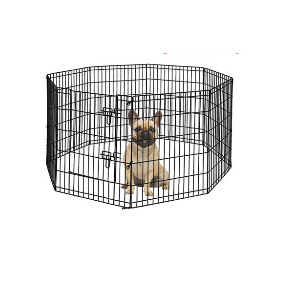 8 Panel Pet Dog Playpen Puppy Exercise Enclosure Fence Black With Door