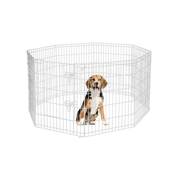 8 Panel Pet Dog Playpen Puppy Exercise Enclosure Fence Silver With Door