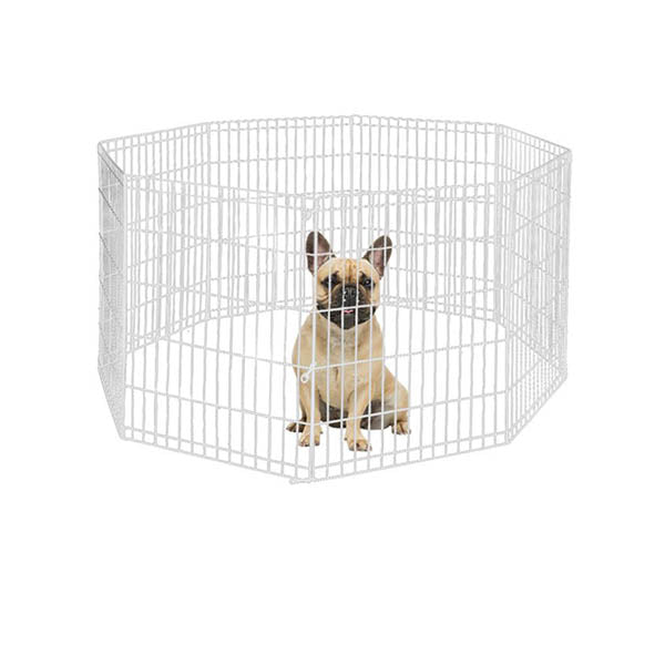 8 Panel Pet Dog Playpen Exercise Fence Silver Extension No Door
