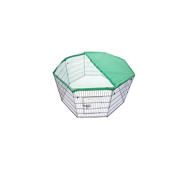 8 Panel Foldable Pet Playpen 24 Inch With Cover Green