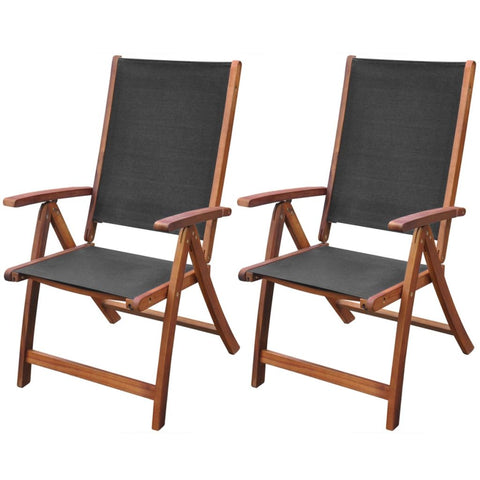 Acacia Wood Folding Chairs - Black (Set of 2)