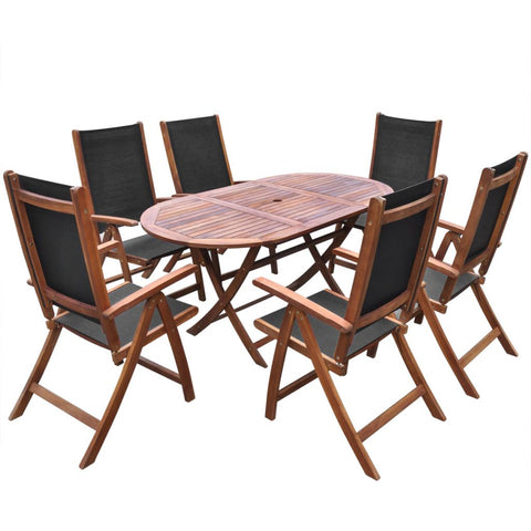 Acacia Wood Folding Outdoor Dining Set (7 Pcs)