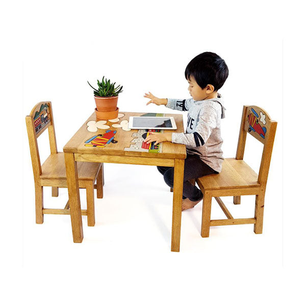 Airplane Design Kids Wooden Table Chairs Set