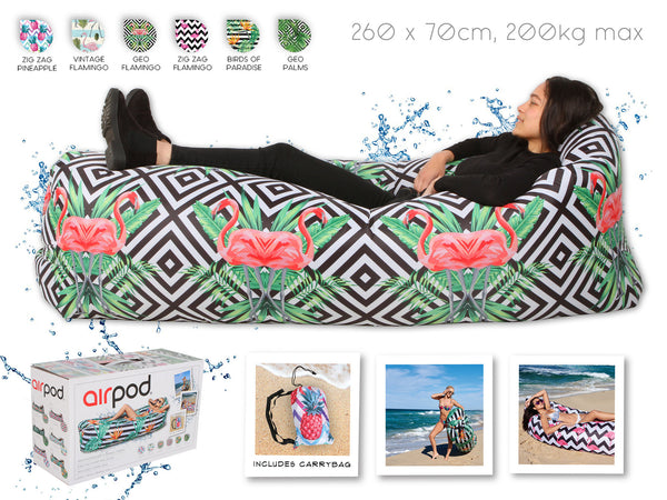 Airpod Inflatable Leisure Lounge Digital Print - Geo Flamingo