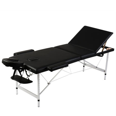 Aluminum Frame Foldable Massage Table - Black