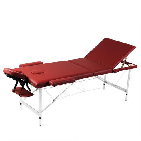 Aluminum Frame Foldable Massage Table - Red