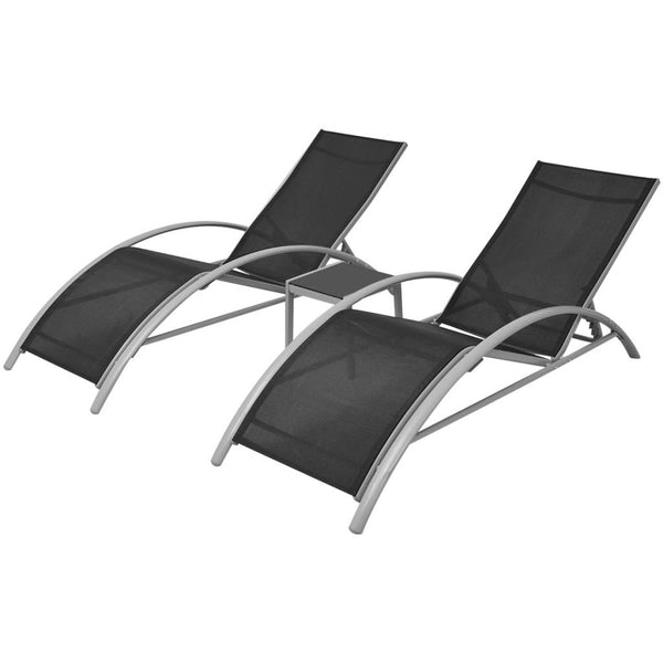 Aluminum Sun Lounger Set (3 Pcs) - Black