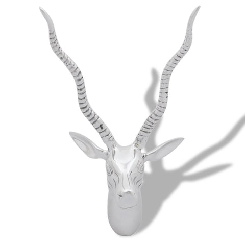 Aluminum Wall Mounted Deer's Head Decoration 33 Cm - Silver