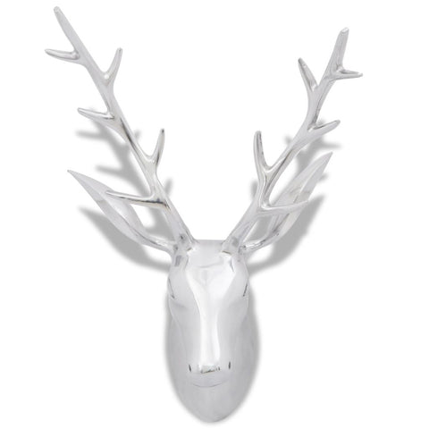 Aluminum Wall Mounted Deer's Head Decoration 62 Cm - Silver