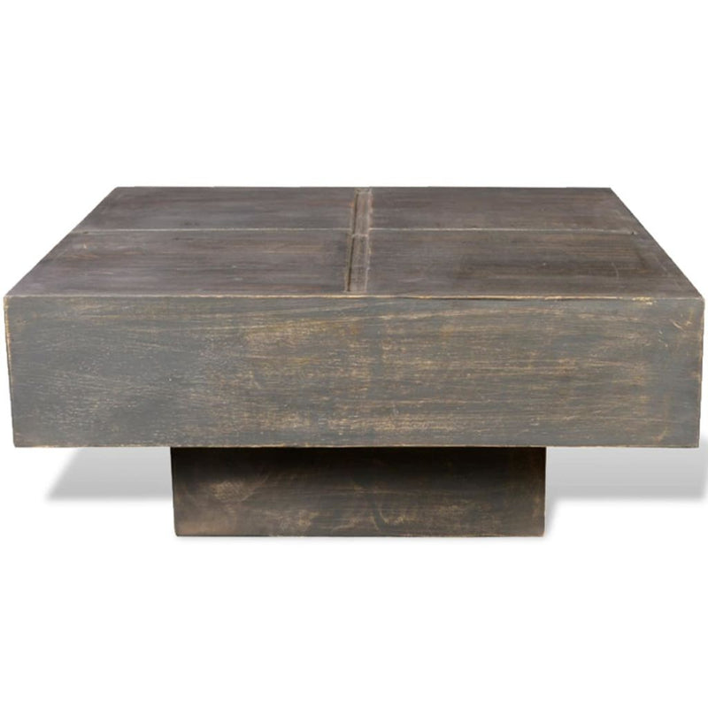 Antique-Style Square Mango Wood Coffee Table - Black