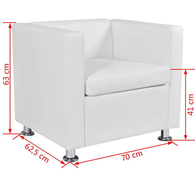 Armchair Artificial Leather - White