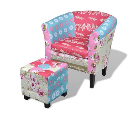 Armchair With Foot Stool Patchwork Design