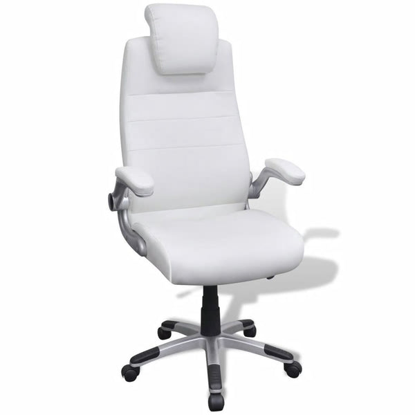 Artificial Leather Adjustable Swivel Chair - White