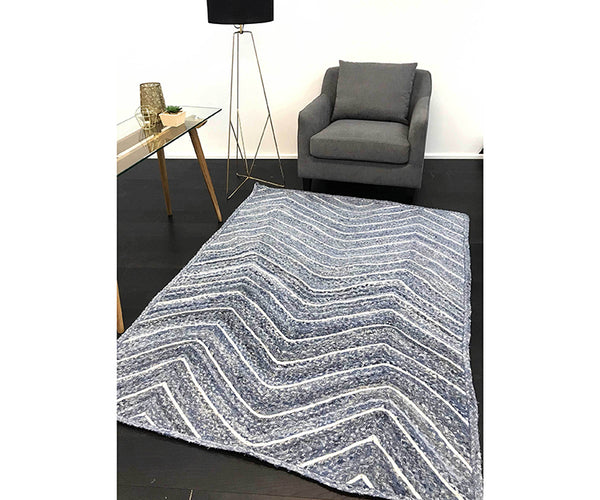 Artisan Natural Chevron Rug - Denim
