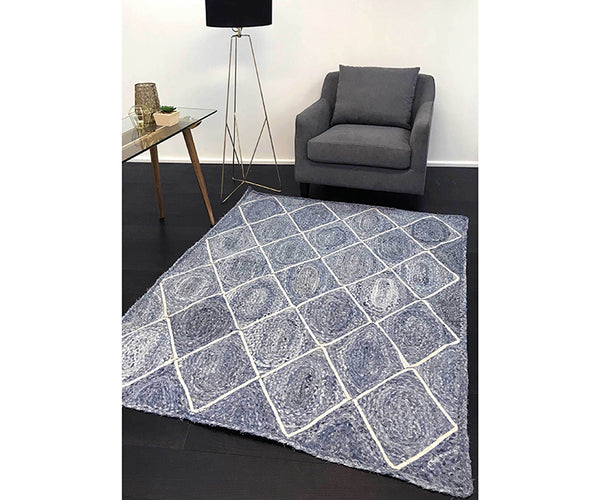 Artisan Natural Diamond Rug - Denim