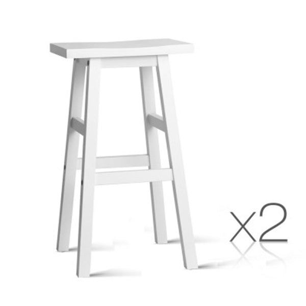 Wooden Bar Stool (Set Of 2) - White