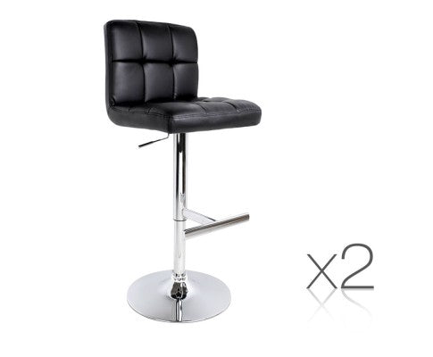 2x PU Leather Kitchen Bar Stool Black