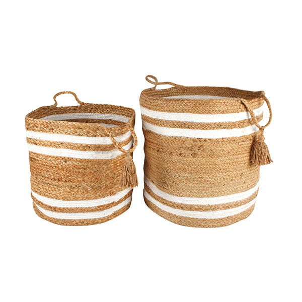 Belle Jute Basket With Tassel Set Of 2