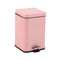 Soga Foot Pedal Stainless Steel Garbage Waste Trash Bin Square 6L Pink