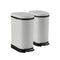 Soga 2X 10L Foot Pedal Stainless Steel Garbage Waste Trash Bin U White