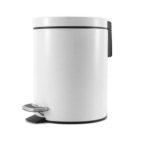 Soga Foot Pedal Stainless Steel Garbage Waste Trash Bin Round 7L White