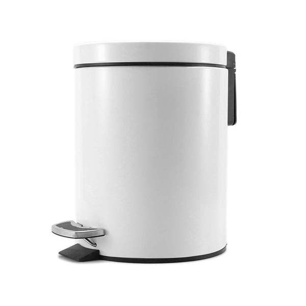 Soga Foot Pedal Stainless Steel Garbage Waste Trash Bin Round 12L Whte