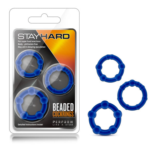 Stay Hard Beaded Blue Cock Rings Set Of  3 Sizes