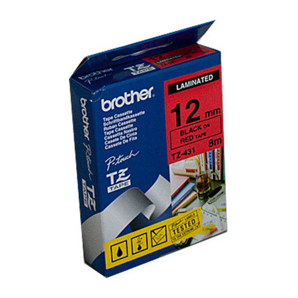 Brother TZe431 Labeling Tape Laminated 12Mm Black On Red Tape