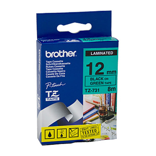 Brother TZe731 Labeling Tape Black On Green