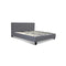 Bed Frame Base Mattress Platform Fabric Wooden Grey King Size