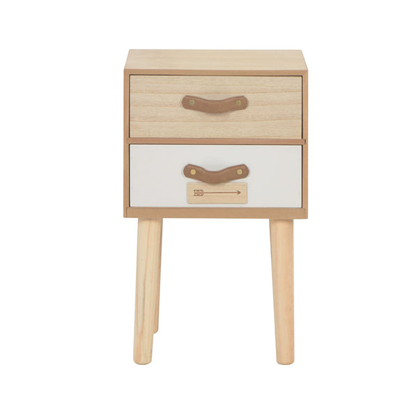 2 Drawers Solid Pinewood Bedside Cabinet