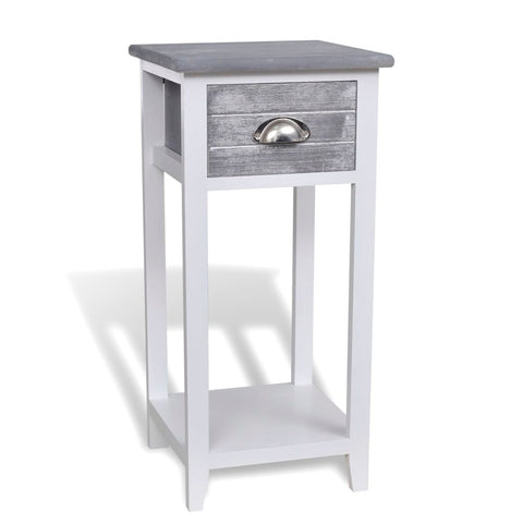 Bedside Cabinet / Telephone Stand With 1 Drawer - Grey/White 242038