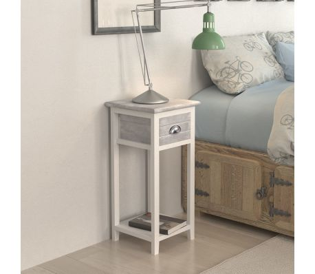Bedside Cabinet / Telephone Stand With 1 Drawer - Grey/White
