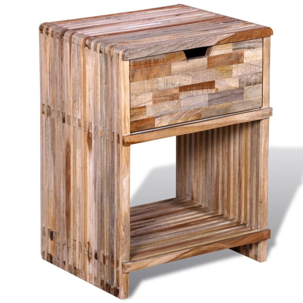 Bedside Cabinet With Drawers Reclaimed Teak